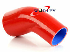 """RED Silicone 45 Degree Reducer Elbow Joiner Turbo Hose pipe 64mm-76mm 2.5""""-3"""""""
