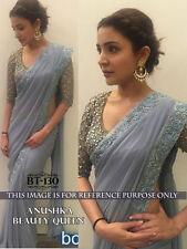Elegant Grey Georgette Embroidery Work Wedding Wear Bollywood Saree Sari BT130