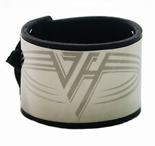 Van Halen Stainless Steel Black Leather Bracelet Wristband buckle adjustable