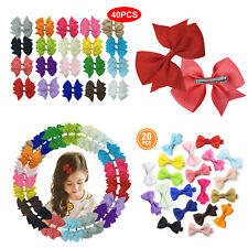 "20/40 Pcs Baby Girls Kids 2"" Grosgrain Ribbon Boutique Hair Bows Alligator Clips"