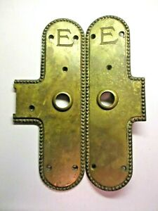 Door Knob 2067 Backplates June 1899 Victorian E Engraved Cast Brass Antique Set
