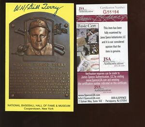 WH Bill Terry Autographed Yellow Hall of Fame Plaque JSA Cert
