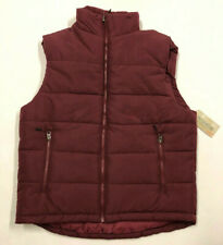 Mens Outdoor Life Burgandy Heavy Water Resistant Puffer Vest Small Zipper Pocket