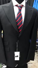 Classic black super 150 fine Cerruti wool suit/wide peak lapel-made in Italy