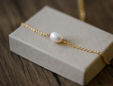 Handmade petite14K Gold plated oval natural fresh water pearl womens gift