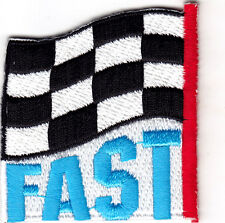 """""""FAST""""- CHECKERED FLAG - Iron On Patch - Racing, NASCAR, Car Races, Vehicle"""