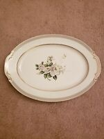GOLD CHINA JAPAN FIRST LOVE OVAL SERVING PLATTER WHITE ROSES GRAY RIM GOLD TRIM