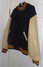 "NOS! ""GEM"" Black Wool with Cream Leather! HOTROD Varsity LETTERMAN Greaser! XXL"