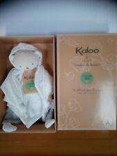 Doudou plat ours beige blanc pois lange gris coton bio Créateur de douceur Kaloo