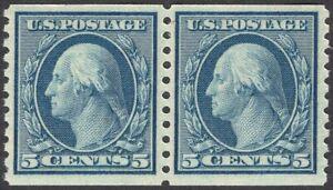 #496 SUPERB MNH OG-5¢ Washington-COIL PAIR-Very Nice GEM QUALITY (REM #496pr-5)