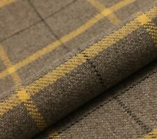5M PRESTIGIOUS THICK TARTAN CHECK WOOL UPHOLSTERY CURTAIN  SLATE GREY 1 FABRIC