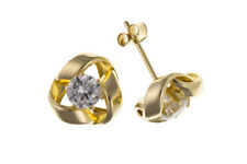 Yellow Gold Knot Earrings Solid 9 Carat Studs Cubic Zirconia Stud 8mm