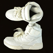 Patrick Ewing High Top Athletic Shoes Size 8.5 (1EW90171-100) All White RARE
