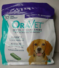 OraVet Dental Hygiene Chews 30 Day Supply Dogs 25-30lbs Purple Bag Exp 2/23/21