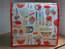 Red Edged Let's Bake Vinyl Cover for KitchenAid and Kenwood kMix Food Mixers