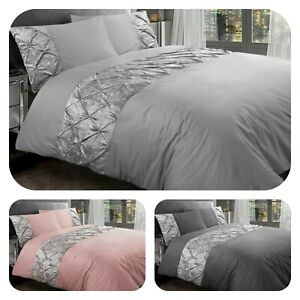 Luxury Pintuck Velvet Duvet Cover Set 100%Egyptian Cotton Bedding Sets All Sizes