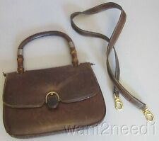 4c6fba21e58435 60s vtg GUCCI BROWN LEATHER PURSE bamboo handle & shoulder strap