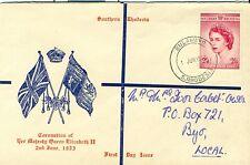South Rhodesia Rhodesie du sud 1953 FDC Bulawayo lettre cover brief local QE2