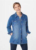 Denim & Co. Comfy Knit Long Jean Jacket Antique Wash Small A367987