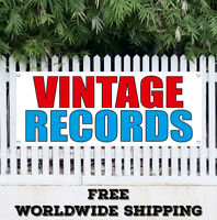 Banner Vinyl VINTAGE RECORDS Advertising Sign Flag Now Open Store Clothing