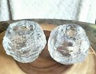 Pair of Kosta Boda Style Snowball Clear Glass Votive Holder 3 IN X 3-1/2 IN