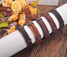 G184 Lot 5pc Cool Braided Leather Hemp Friendship Bracelet Bangle Wristband Men
