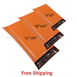 50 MIXED SIZES Orange Colored Postage Bags Strong Plastic Mailing Bags Self Seal