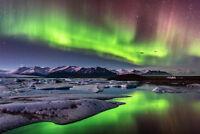 Aurora Borealis on Iceland Photo Art Print Poster 18x12