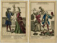 2 Rare Antique Prints-SATIRE-BAD-GOOD-MARRIAGE-DEVIL-Schenk-ca. 1700-1720