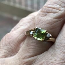 Not Enhanced Peridot Three-Stone Fine Rings