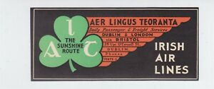 IRELAND AER LINGUS OLD BAGGAGE LABEL IRISH AIRLINES