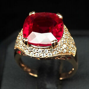 TOPAZ PINK RASPBERRY ANTIQUE 9.70 CT. 925 STERLING SILVER ROSE GOLD RING SZ 7.5