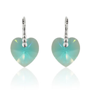 Sterling Silver Earrings made with 6228 Heart 17.5 mm Swarovski® Crystals