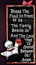FAT CHEF Kitchen BLESSING PRAYER SIGN Wall Art Hanger Plaque Bistro Cucina Decor