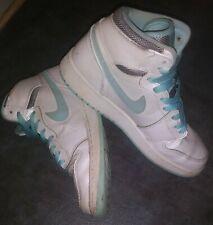 New listing Air Jordan 1 Retro High Gg White Aqua Leather 332148 106 Size 6.5Y Eur39