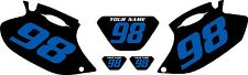 1998-2000 Yamaha WR400F Pre-Printed Black Backgrounds with Blue Numbers