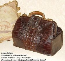 """Antique Victorian 16.5"""" Alligator Satchel, LG Hornback Scales, Doctor's Bag?"""