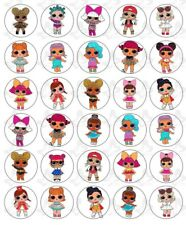30 LOL dolls Edible Paper Cupcake Cup Cake Topper Image Decoration