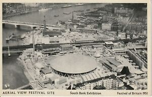 1951 FESTIVAL OF BRITAIN POSTCARD  SOUTH BANK AERIAL VIEW SITE