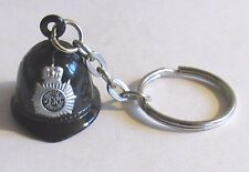 F) KEYRING METAL BRITISH POLICE HELMET BELL HAT BLACK ER BADGE OFFICER PATROL