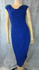 LRL RALPH LAUREN Royal Blue Stretchy Draped Tuck Pleated Chic Sheath Dress 6