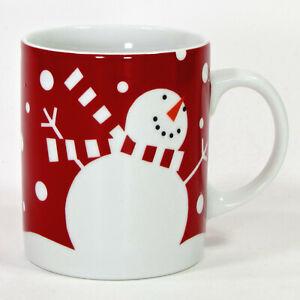 Crate & Barrel SNOWMAN 12oz Mug Red White Scarf Snowflakes Christmas Two Eyes