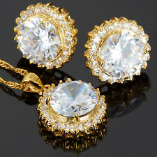 White Topaz Round Cut Necklace Pendant Earrings Gemstone 18K GP Jewelry Set