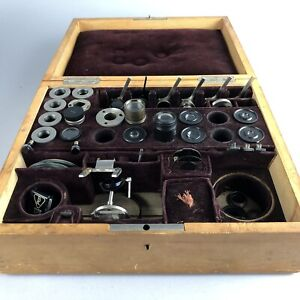 Vintage Zeiss, Leitz, B&L Metallurgical Microscope Parts w/ Stage Inserts & Case