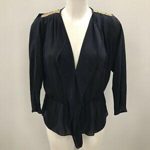 Sandro Top Size 2 UK10 Regular Navy Casual Simple Women's Plain Formal 083778