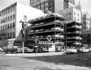 1940s Texaco Gas Station with Open Parking Garage - Vintage Photo Print