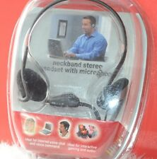 New Cyber Acoustics HS-600 H/O Neckband Stereo Headset,Microphone Mac or Win
