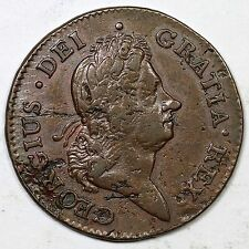 1722 Harp Right Hibernia Colonial Copper Coin 1/2d