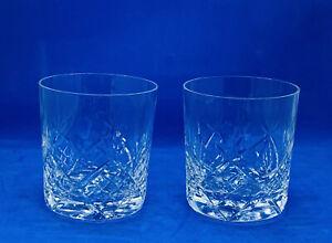 Pair Vintage TYRONE Irish Crystal Hand Blown Cut Glass Whisky Tumbler Glasses