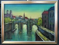 Vtg Signed L Y WISTLER European City River Bernard Buffet Style Oil Painting